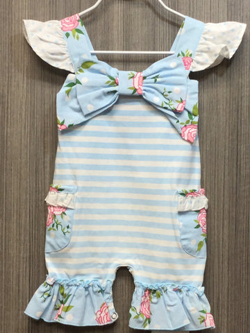 SKY BLUE FLUTTER BOW SHORTALL & HAIR ACCESSORY