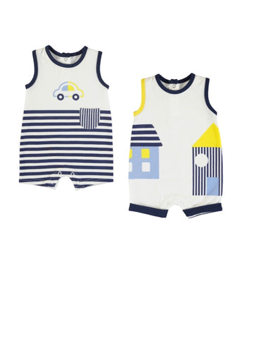 Navy, White, and Yellow 2pc Romper Set