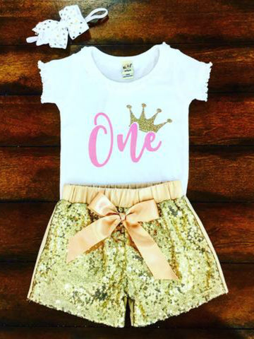 FIRST BIRTHDAY GLITTER CROWN BODYSUIT
