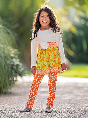 GREEN & ORANGE PUMPKIN DRESS & ORANGE DOT LEGGINGS