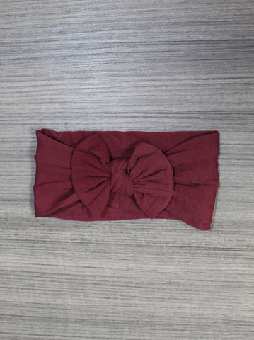 Burgundy Nylon Bow Headband