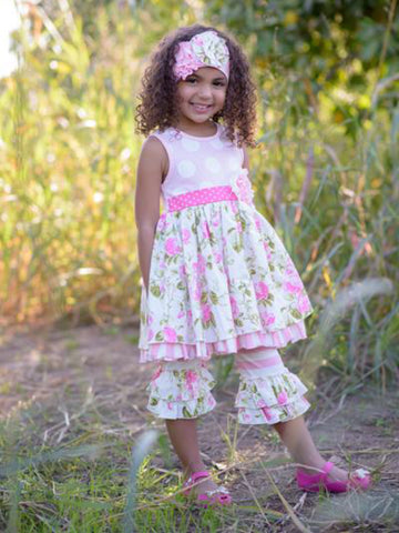 WILD ROSE RUFFLE DRESS & CAPRIS & HEADBAND
