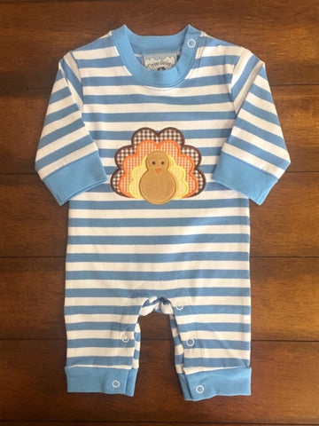 TURKEY APPLIQUE BOYS KNIT ROMPER