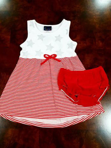 RED & WHITE STAR TANK DRESS