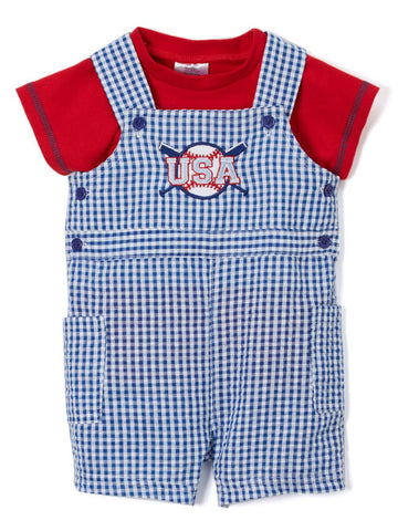 BLUE USA FLAG SEERSUCKER SHORTALL & RED TEE