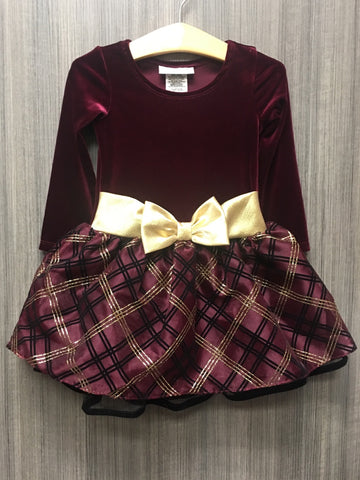 BURGUNDY CENTER BOW ORGANZA DRESS