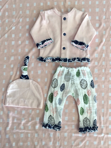 MUSLIN LEAVE PANTS, JACKET AND KNOT HAT