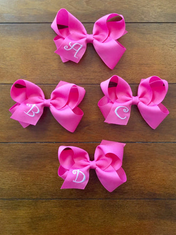 HOT PINK MD INITIAL BOW