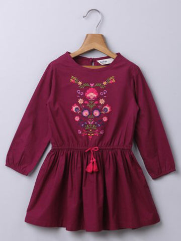 PLUM FLORAL EMBROIDERED DRESS