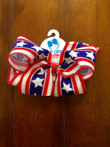 KING STARS AND STRIPE GLITTER BOW
