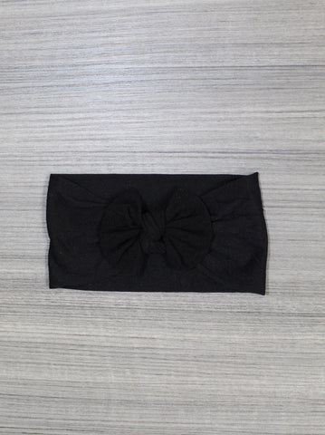 Black Nylon Bow Headband