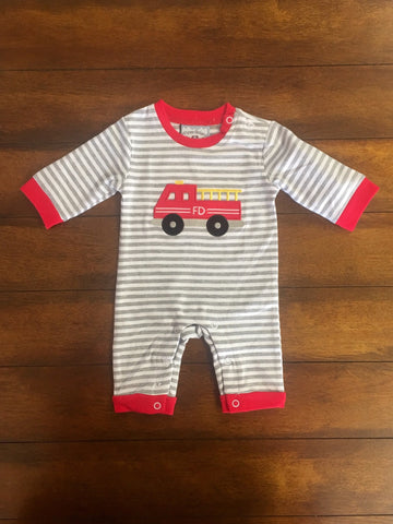 FIRETRUCK APPLIQUE BOYS KNIT ROMPER