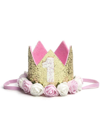 Gold Blush #1 Flower Birthday Crown