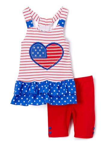 RED STRIPE FLAG HEART KNIT TUNIC & SHORTS