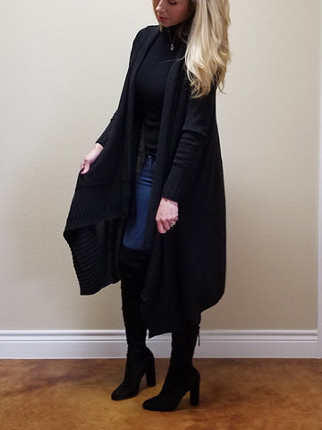 BLACK KNIT LONG SLEEVE CARDIGAN