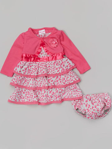 PINK LEOPARD DRESS & CARDIGAN WITH BLOOMERS