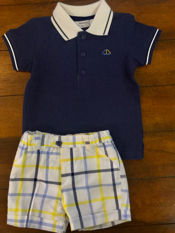 Yellow & Blue Plaid Cotton Shorts and Shirt 2pc Set