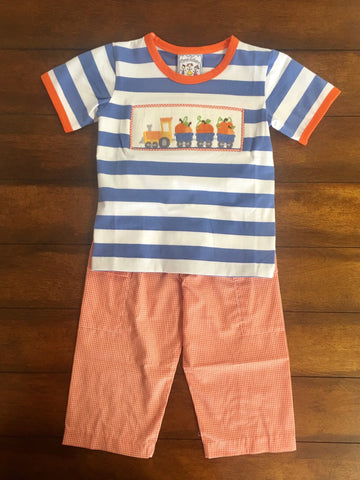 PUMPKIN TRAIN SMOCKED BOYS T SHIRT & PANTS