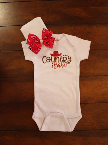 COUNTRY BABE ONSIE & HOSPITAL HAT SET