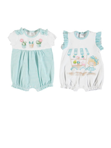 Turquoise striped with Cactus print play set