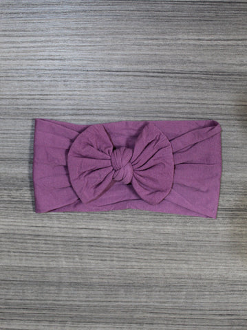 Midnight Mauve Nylon Bow Headband