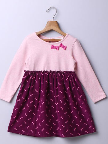 PURPLE CURDUROY BOW DRESS