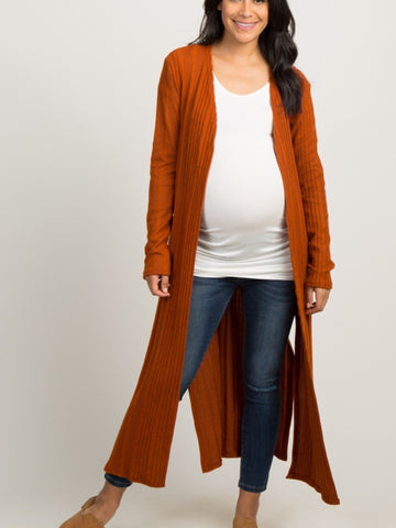 RUST KNITTED LONG CARDIGAN