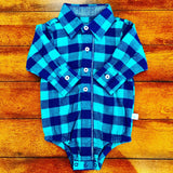 NAVY & EMERALD BUFFALO PLAID BUTTON UP BODYSUIT