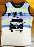 GREEN & BLUE 'ROAD TRIP' TANK & NAVY CARGO SHORTS