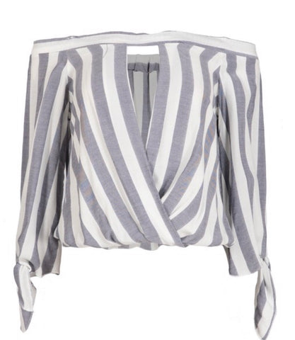 GRAY STRIPE OFF SHOULDER