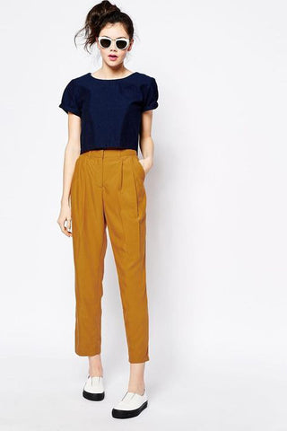 mustard pegged trousers