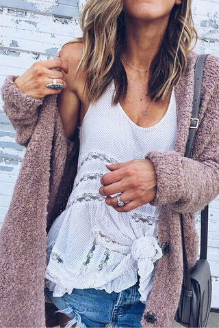 dusty rose boucle sweater