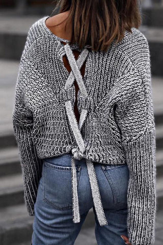 lace up back grey sweater