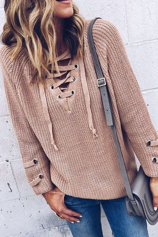 dusty rose lace up sweater