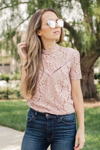 dusty rose lace blouse