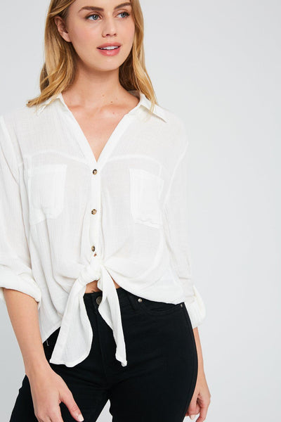 Truth Shirts Tie-Waist Button-Up