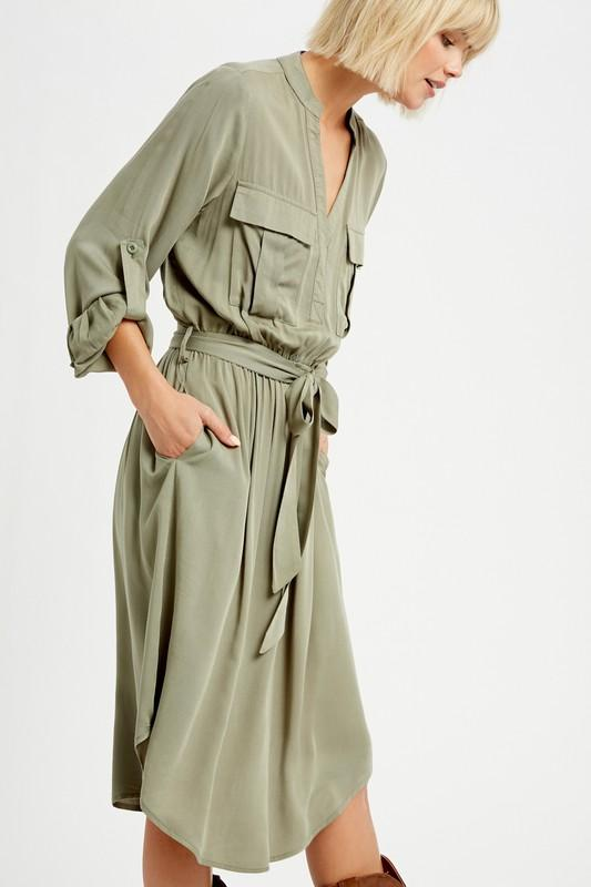 Olive It a Lot Midi Shirt Dress