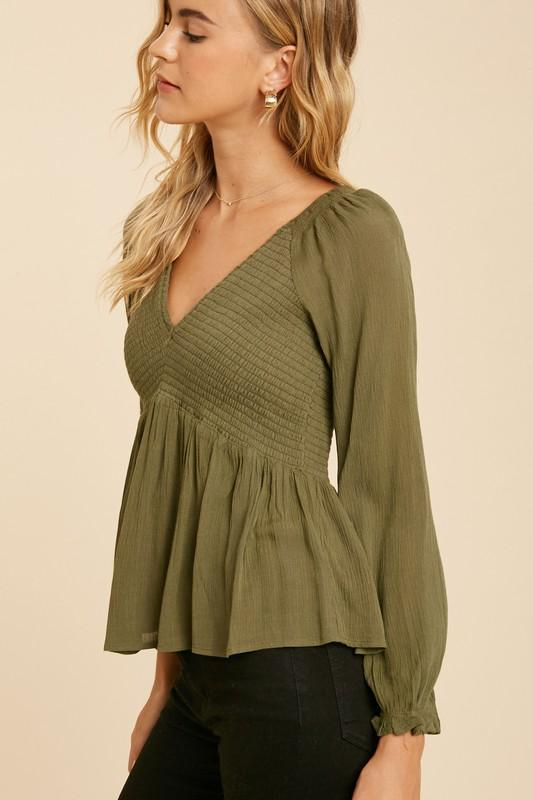 Smock On V-Neck Blouse
