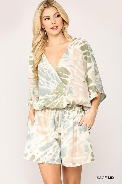 Tall Drink of Watercolor Printed Romper