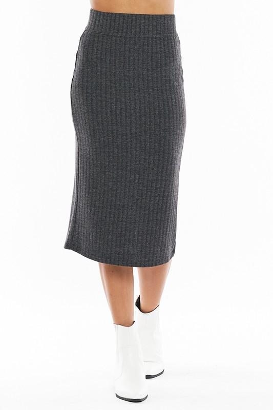 Baby Back Ribbed Knit Midi Skirt in Charcoal