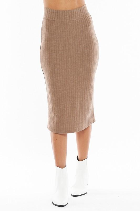 Baby Back Ribbed Knit Midi Skirt in Camel