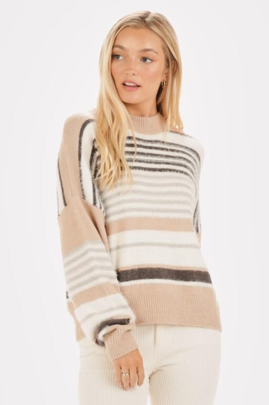 Stripe Right Camel Sweater