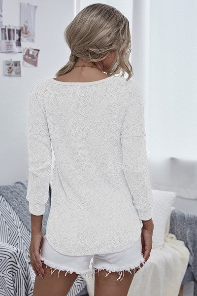 Double Crossed Wrap Front Sweater in White