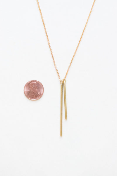 Give It To Me Straight Brass Necklace