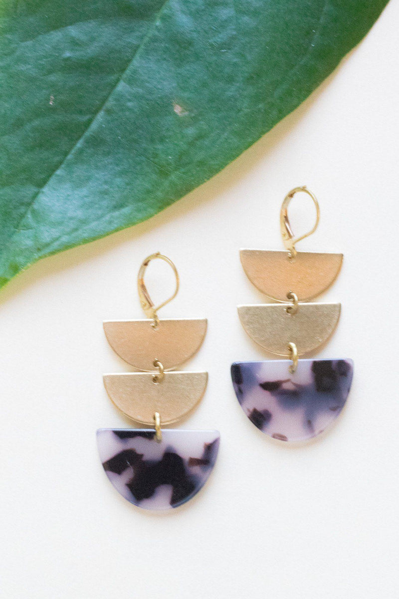 Triple Threat Acrylic Brass Earrings