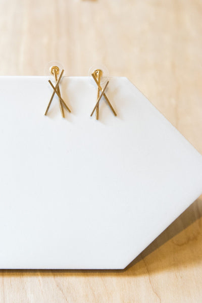 Three Strikes Gold Stud Earrings