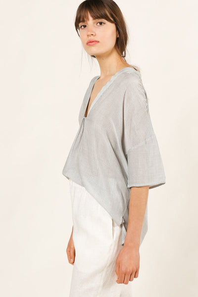 Breezy Does It Micro Stripe Blouse