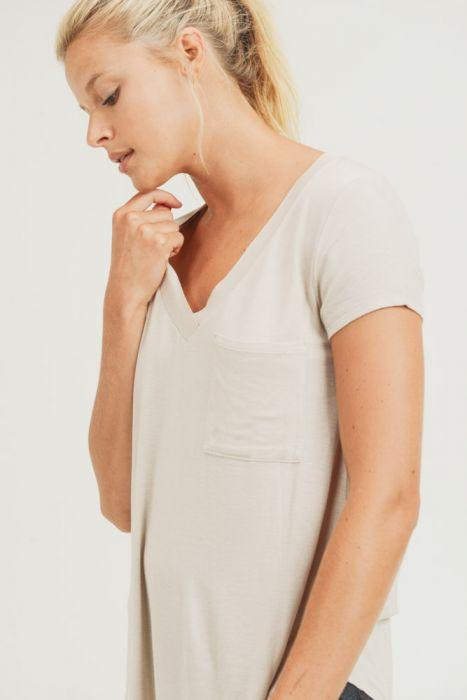 Cover Your Basics V-neck Tee in Cream