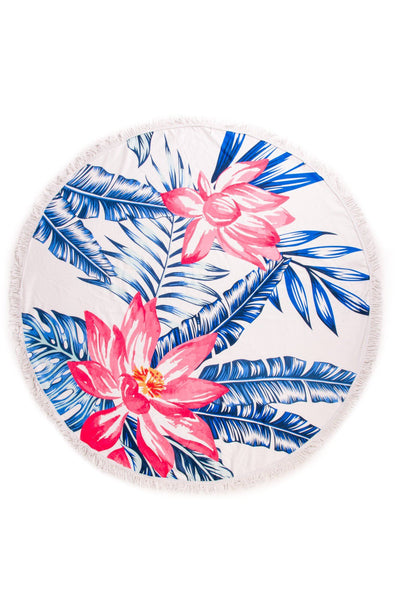 Beach, Please, Flower Print Round Towel