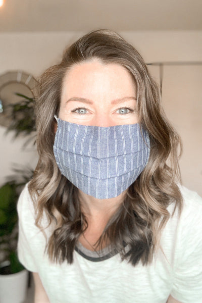 Play It Safe Cotton Mask in Blue Stripe